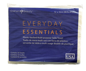 GRAHAM BEAUTY™ EVERYDAY ESSENTIALS MULTI-PURPOSE PLASTIC-BACKED TABLE TOWELS