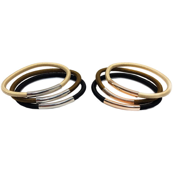 Metal bar hair ties (6 pcs)