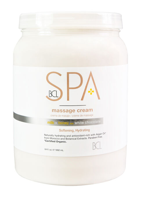 BCL SPA ; STEP 4 : MILK & HONEY WITH WHITE CHOCOLATE MASSAGE CREAM 64 oz